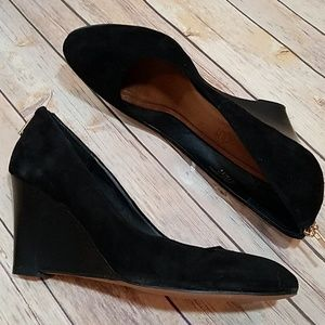 Aldo black suede wedges gold zipper